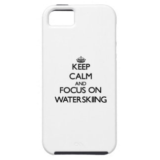 Keep Calm and focus on Waterskiing iPhone 5 Cases