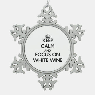 Keep Calm and focus on White Wine Snowflake Pewter Christmas Ornament
