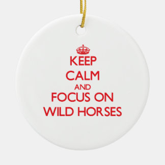 Keep calm and focus on Wild Horses Double-Sided Ceramic Round Christmas Ornament