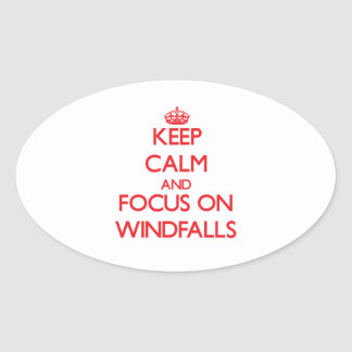 Keep Calm and focus on Windfalls Oval Sticker