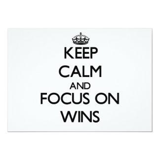 "Keep Calm and focus on Wins 5"" X 7"" Invitation Card"