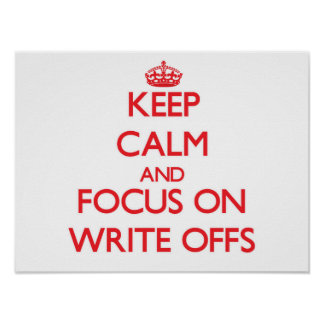 Keep Calm and focus on Write-Offs Poster