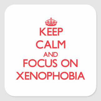 Keep Calm and focus on Xenophobia Square Sticker
