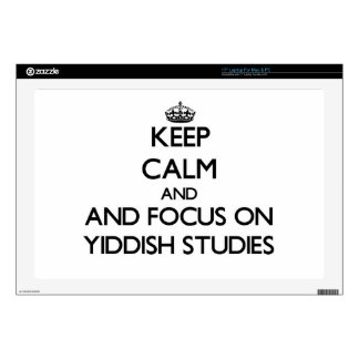 """Keep calm and focus on Yiddish Studies 17"""" Laptop Decals"""