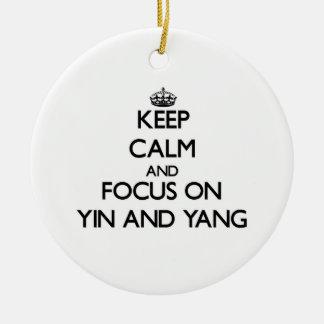 Keep Calm and focus on Yin and Yang Christmas Tree Ornament