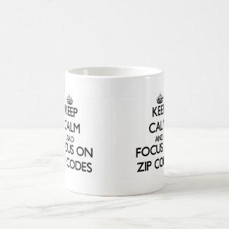 Keep Calm and focus on Zip Codes Coffee Mugs