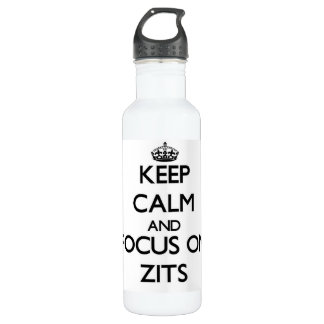 Keep Calm and focus on Zits 24oz Water Bottle
