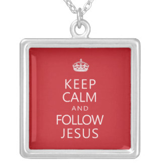 Keep Calm and Follow Jesus Square Pendant Necklace