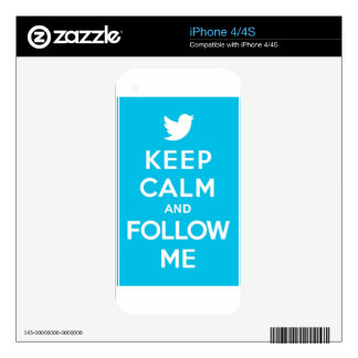 Keep Calm And Follow Me Carry On Twitter Bird iPhone 4 Skins