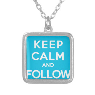Keep Calm And Follow Me Carry On Twitter Bird Square Pendant Necklace