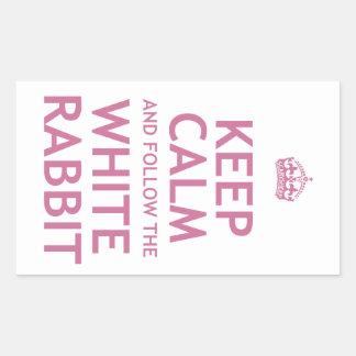 Keep Calm and Follow the White Rabbit Rectangular Sticker