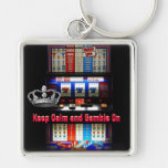 Keep Calm and Gamble on Slot Machine Silver-Colored Square Keychain