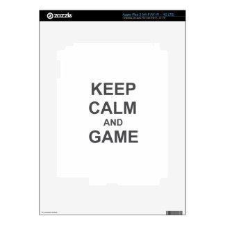 Keep Calm and Game blue gray black iPad 3 Skins