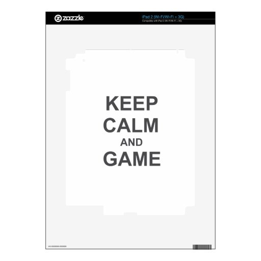 Keep Calm and Game blue gray black Decal For The iPad 2