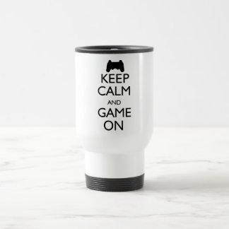 Keep Calm and Game On 15 Oz Stainless Steel Travel Mug