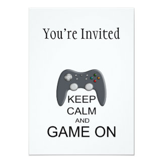 Keep Calm And Game ON 5x7 Paper Invitation Card