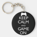 Keep Calm and Game On Basic Round Button Keychain