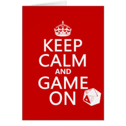 Greeting Card with Keep Calm and Game On design