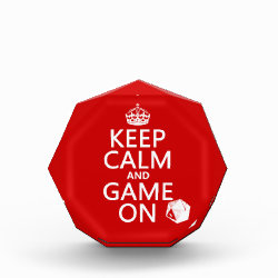 Small Acrylic Octagon Award with Keep Calm and Game On design