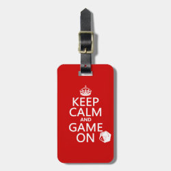 Small Luggage Tag with leather strap with Keep Calm and Game On design