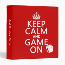 Avery Signature 1' Binder with Keep Calm and Game On design