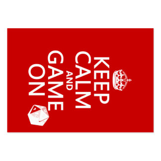 Keep Calm and Game On - dice - all colors Large Business Cards (Pack Of 100)