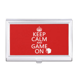 Keep Calm and Game On Business Card Holder
