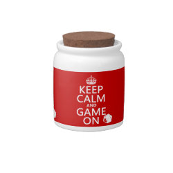 Candy Jar with Keep Calm and Game On design