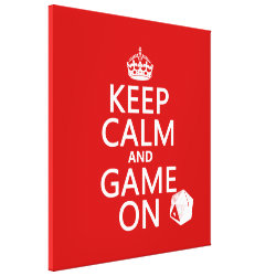 Premium Wrapped Canvas with Keep Calm and Game On design