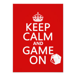 5.5' x 7.5' Invitation / Flat Card with Keep Calm and Game On design