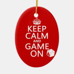 Keep Calm and Game On Oval Ornament