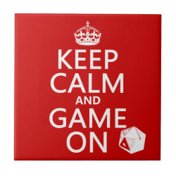 Small Ceremic Tile (4.25' x 4.25') with Keep Calm and Game On design