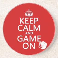 Sandstone Drink Coaster with Keep Calm and Game On design