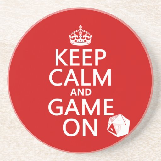Keep Calm and Game On - dice - all colors Drink Coaster