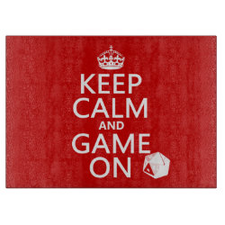 Decorative Glass Cutting Board 15'x11' with Keep Calm and Game On design
