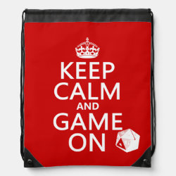 Keep Calm and Game On Drawstring Backpack