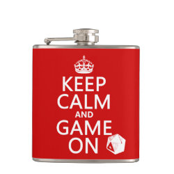 Vinyl Wrapped Flask, 6 oz. with Keep Calm and Game On design