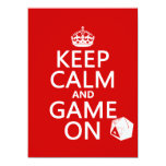 Keep Calm and Game On - dice - all colors 5.5x7.5 Paper Invitation Card