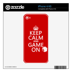 iPhone 4/4S Skin with Keep Calm and Game On design