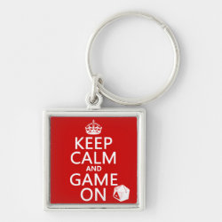 Premium Square Keychain with Keep Calm and Game On design