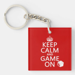 Square Keychain with Keep Calm and Game On design