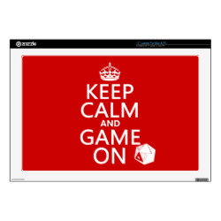 17' Laptop Skin for Mac & PC with Keep Calm and Game On design
