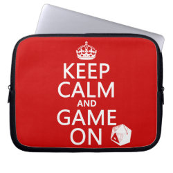 Keep Calm and Game On Neoprene Laptop Sleeve 10 inch