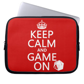Keep Calm and Game On - dice - all colors Laptop Sleeve