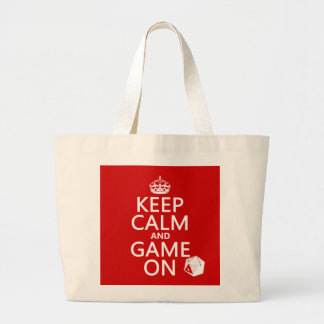 Keep Calm and Game On - dice - all colors Large Tote Bag