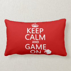 Throw Pillow Lumbar 13' x 21' with Keep Calm and Game On design