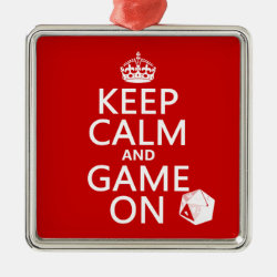 Premium Square Ornament with Keep Calm and Game On design