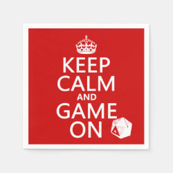 Keep Calm and Game On Paper Napkins