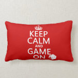 Keep Calm and Game On - dice - all colors Pillow
