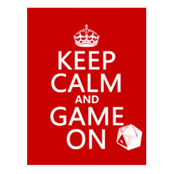 Keep Calm and Game On Postcard